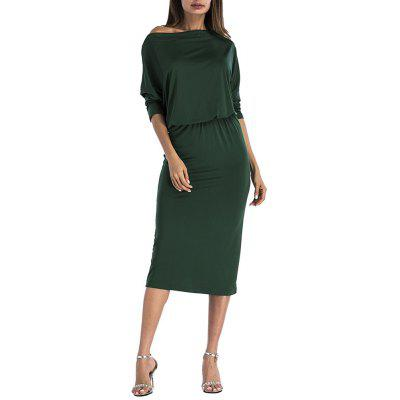 Women'S Half Sleeve Off One Shoulder Solid Color Elastic Waist Midi Dress
