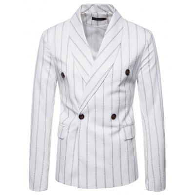 Mens Slim Fit Suits Flap Pockets Stripe Casual Blazer