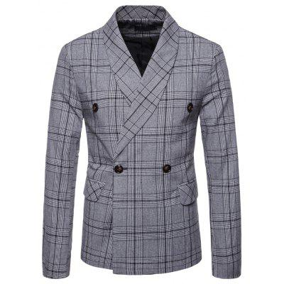 Men's Slim Fit Plaid Suits Pockets Buckle Casual Blazer