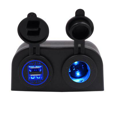 Caravan Car Yacht  4.2A Dual USB Universal Car Charger with 12V Lamp