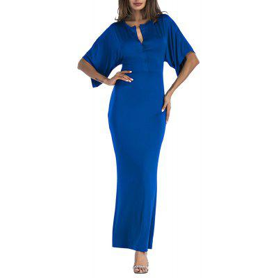 Women'S Short Wide Sleeve V-Neck Buttons Slim Waist Bodycon Maxi Dress