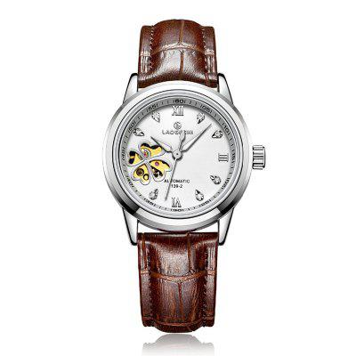 Laogeshi Fashion Leather Women Waterproof Automatic Mechanisch horloge