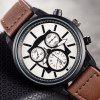 Men's Simple Style Round Dial Leather Band Quartz Watches - DEEP BROWN