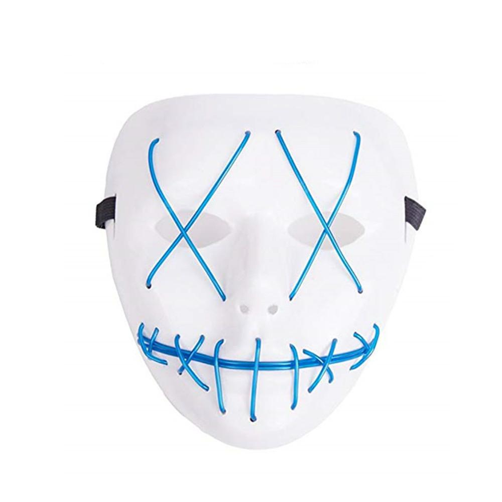 Frightening Wire Halloween LED Light Up Mask for Festival Parties BLUE