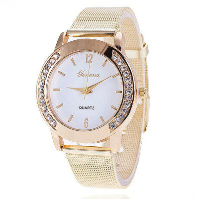 Men Gold Mesh Quartz Watch Women Metal Stainless Steel Dress Watches