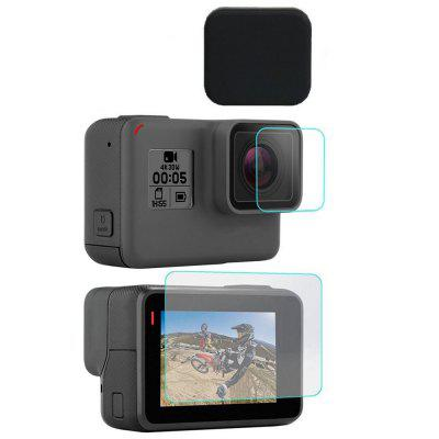3PCS Tempered Glass Screen + Lens Film + Lens Cap Cover Set for Gopro Hero 5 / 6