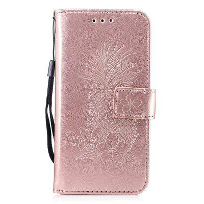 Embossing Pineapple Flower Flip Folio Wallet Case for iPhone 6 Plus / 6S Plus