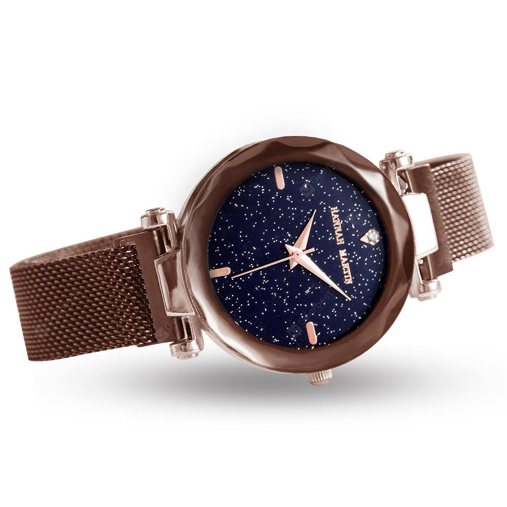 Clever Luxury Women Leather Clasp Watch Ladies Big Star Dial Dress Watches Stainless Steel Mesh Belt Quartz Watch 2019 Latest Style Online Sale 50% Women's Watches