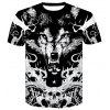 New Style Wolves 3D Print Men's Casual Short Sleeve Graphic T-Shirt - MULTI-S