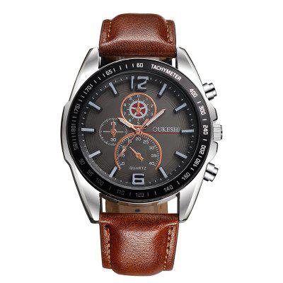 OUKESHI Fashion Casual Men Simple Sports Inside i Outside Business Belt Watch