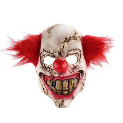 Gearbest YEDUO Horror Holloween Latex Clown Mask Adult with Red Hair Killer Party - RED