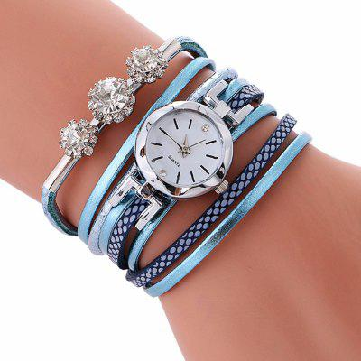 V5 Women Fashion Luxury Rhinestone Leather Bracelet Quartz Watch