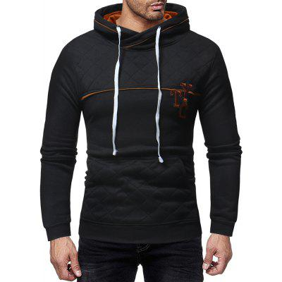 Men's Fashion Big Pocket Trend Letter Embroidery Print Slim Casual Sweater