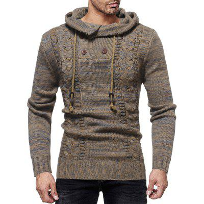 Men's Fashion Personality Neckline Button Decoration Trend Knit Hooded Sweater