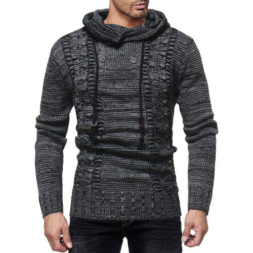 9b5fc853d0df Men s Fashion Personality Neckline Button Decoration Trend Knit Hooded  Sweater