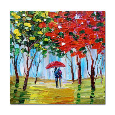 STYLEDECOR Modern Hand Painted Knife Painting Pedestrian Under the Tree
