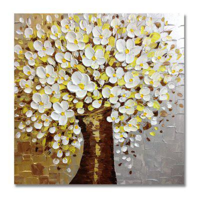 STYLEDECOR Modern Hand Painted Knife Painting White Flowers Tree Oil Painting