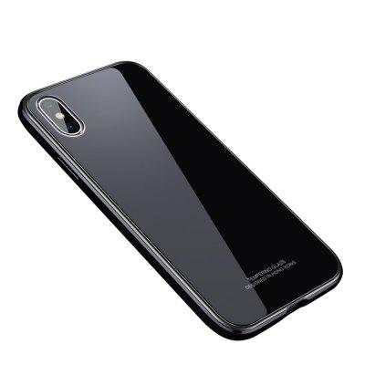 For iPhone X Bumper Case Metal Frame Tempered Glass Back Cover