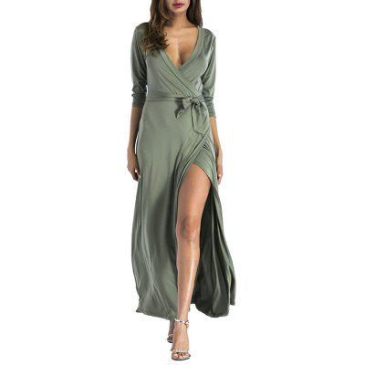 Women's Fashion Solid Color Deep V-neck 3/4 Sleeve Sashes Split Maxi Dress