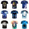 New Style Wolves 3D Print Men's Casual Short Sleeve Graphic T-Shirt - MULTI-B