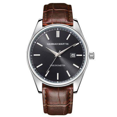 Hannah Martin Men's Business Casual Waterproof Leather Date Display Quartz Watch