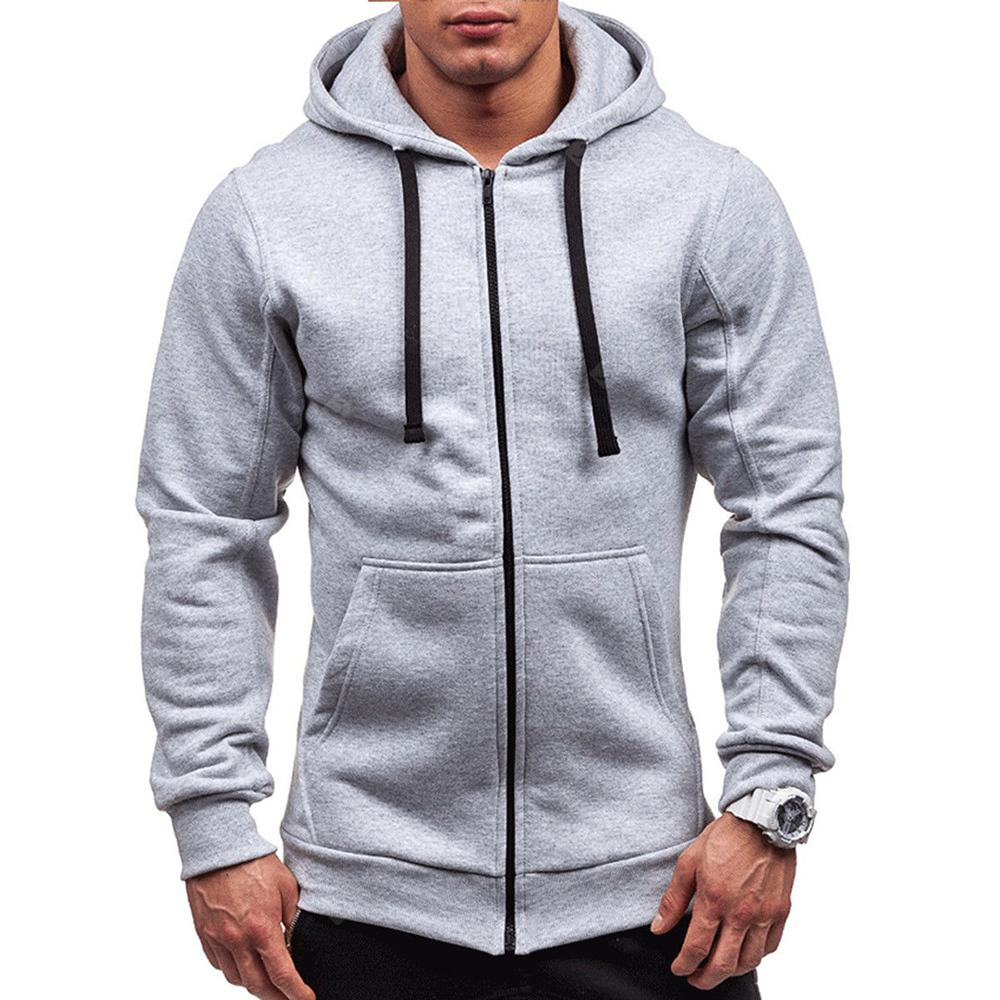 Men's Outwear Winter Solid Color Zipper Hoodie