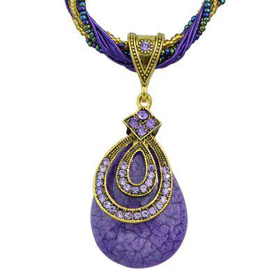 Colorful Bead Rhinestone Multi Layer Chain Water Drop Pendant Necklace