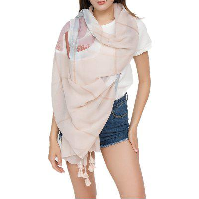 Simple Solid-Colored Fringed Scarf Shawl