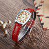 Casual Fashion Wine Barrel Square Belt Ladies Watch - RED