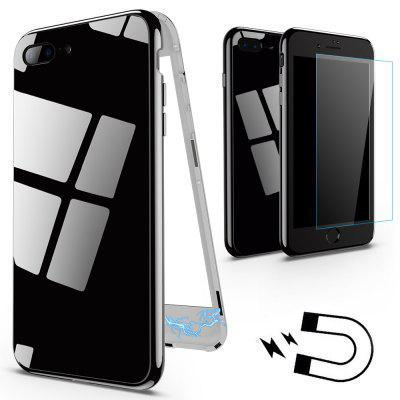 For iPhone 7 Plus / 8 Plus Case Magnetic Metal Frame Tempered Glass Magnet Flip Cover