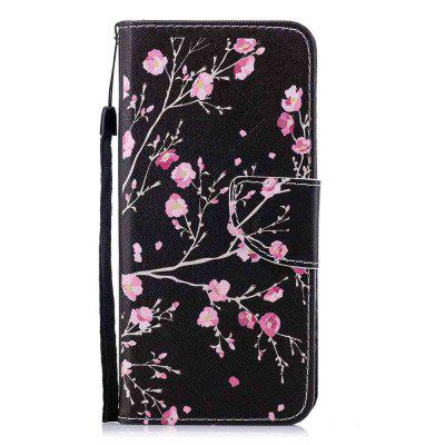 Для Samsung A8 Plus 2018 Black Flower Painting Phone Case
