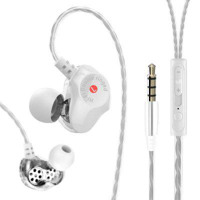 Double Moving Coil Hi-Fi Headphones Heavy Bass for iPhone / Samsung / Xiaomi - Black/White