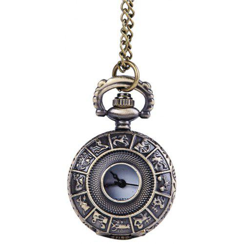Seasonal 3152445 Twelve White Face Simple Retro Pocket Watch