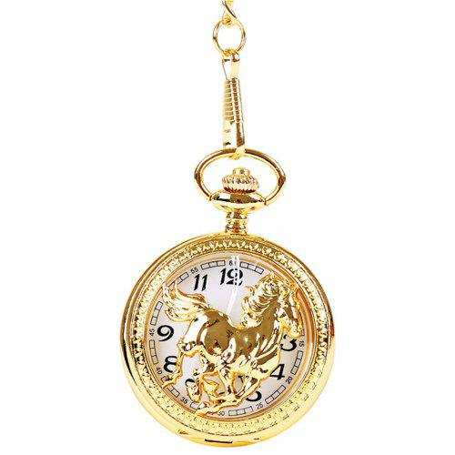 Seasonal 3152449 Thick Chain Yellow Gold Large Hollow Horse Pentium Pocket Watch