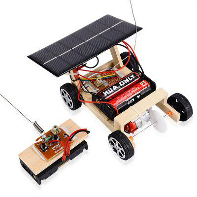 Solar Remote Control Vehicle Wooden Assembly Car Science Educational Toy
