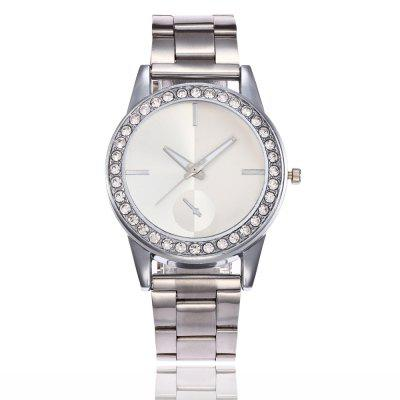 Fashion Lady Full of Drill Simple Scale  Steel Band Quartz Watch