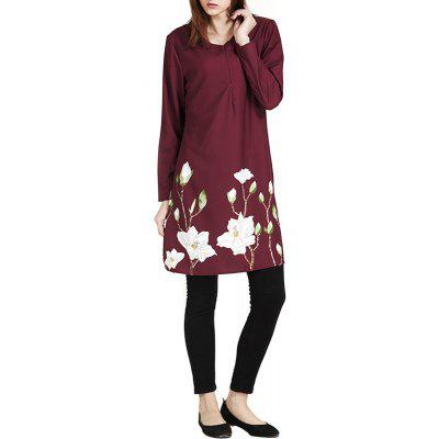Loose Printing Long Sleeve  Shirt Dress