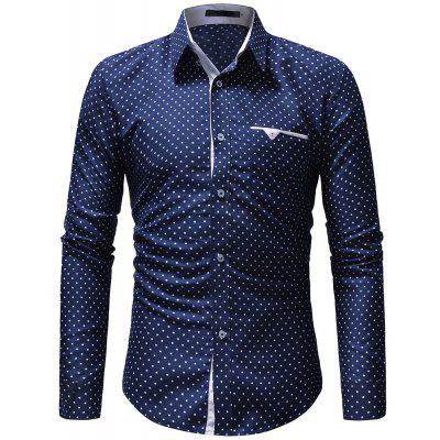 2018 New Single Pocket Five-Pointed Star Print Men's Casual Long-Sleeved Shirt