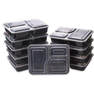 10Pcs Microwave 3 Compartment Plastic Lunch Box Food Storage Meal Prep Container