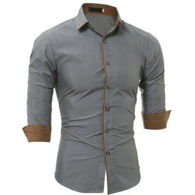Classic Color Matching Personality Striped Men's Casual Slim Long-Sleeved Shirt