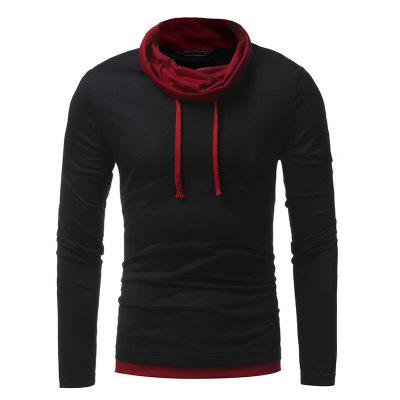 2018 New Personality Pile Collar Men's Casual Slim Long-Sleeved T-Shirt