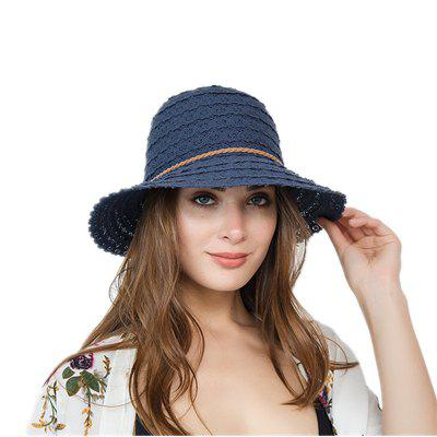 Fashionable Hollow-Out Flower Petal Pattern Summer Sunshade Weaving Hat