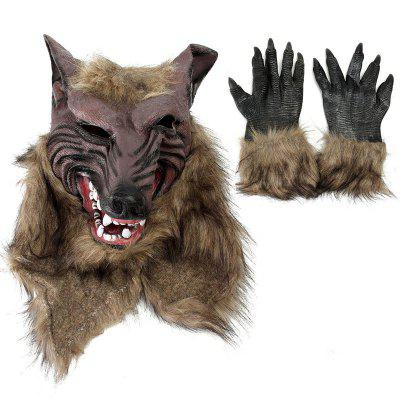 Loup-garou Latex Masque Gants Loup Claw Halloween Party Cosplay Costumes Props Game