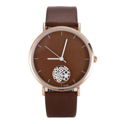 Women's Simple Style Round Dial Leather Band non-mechanical Watches