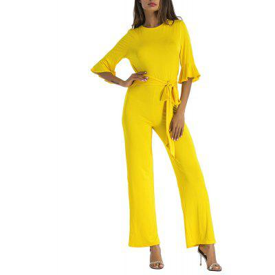 Women's Half Flare Sleeve Solid Color O-neck Wide Legging Jumpsuit Overall
