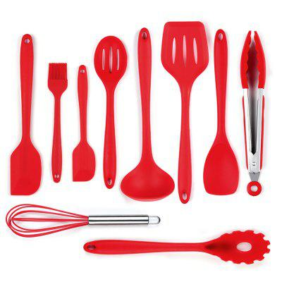 Silicone Spatula Utensil Set  10 Pieces(Red)