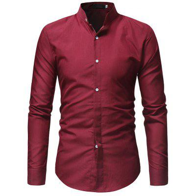 Men's Solid Color Slim Long-Sleeved Shirt