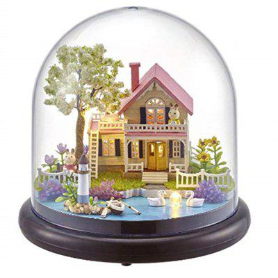 DIY House Kit Creative Room with Furniture and Glass Cover for Romantic