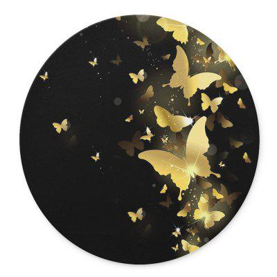 The Golden Butterfly Flying in The Dark Design Round Mouse Pad the golden bowl