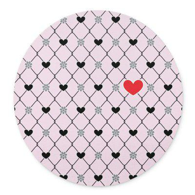Pink Heart Grid Design Non Slip Round Mouse Pad